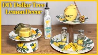 DIY Dollar Tree Lemon Tree Summer Tiered Tray & Lemon Bottle - Farmhouse Rustic Kitchen Decor
