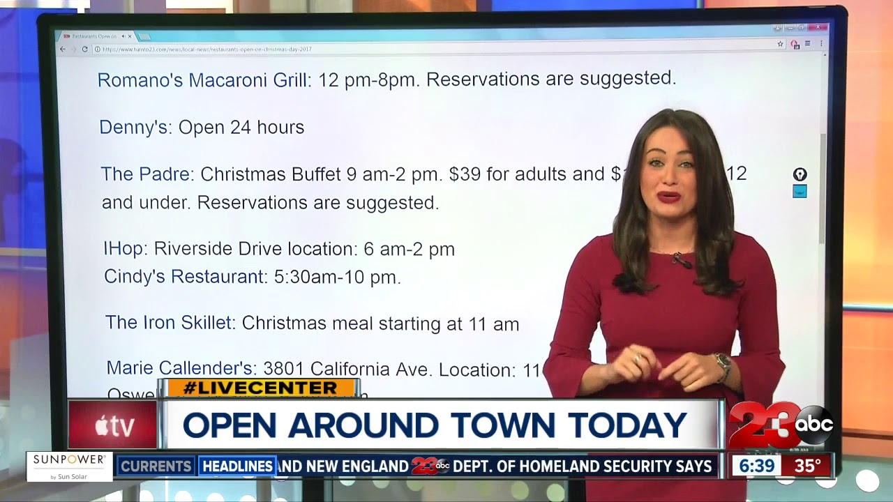 Restaurants Open in Bakersfield on Christmas Day 2017 - YouTube