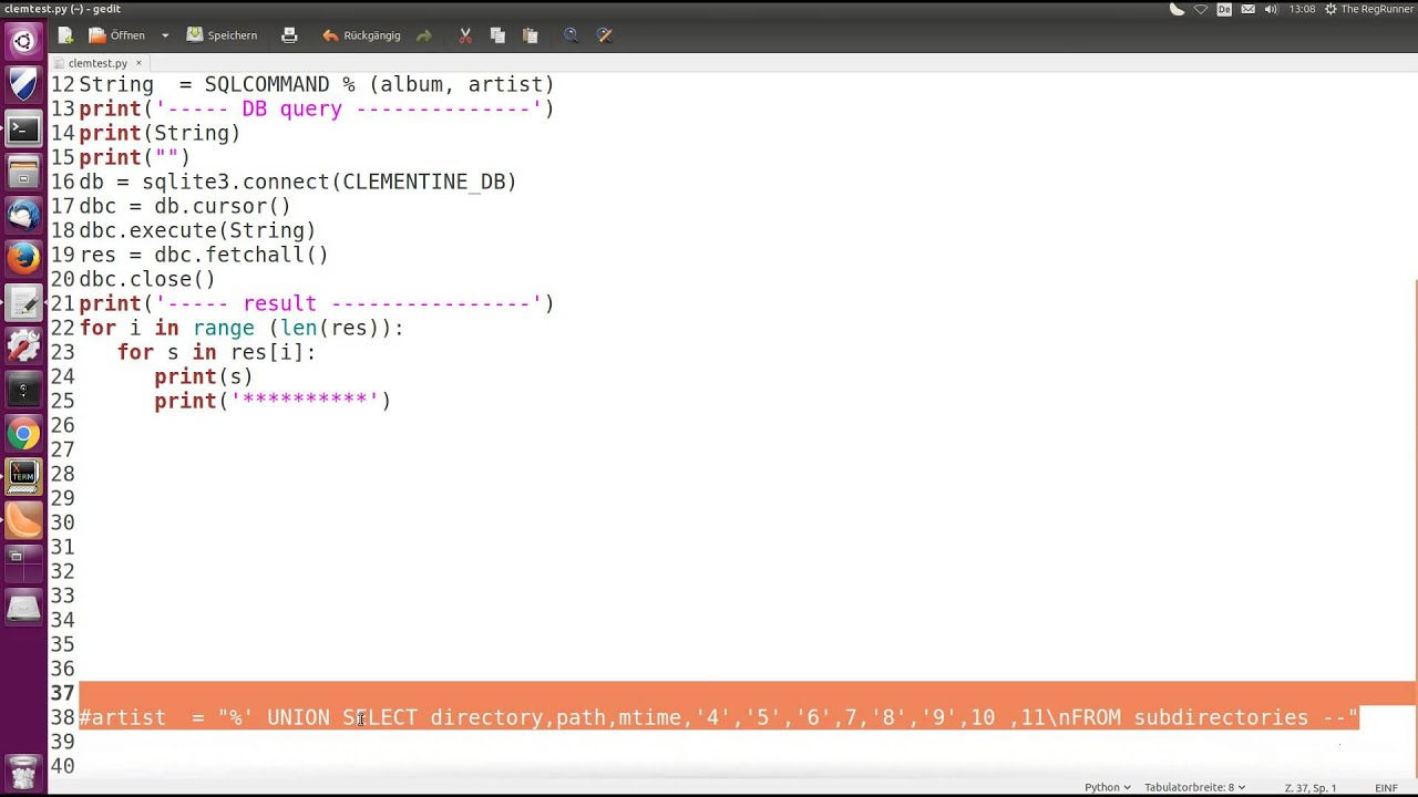 Experimente mit SQL Injection [Linux , python, UNION SELECT]