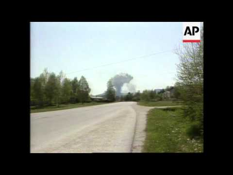 Bosnia - NATO Strikes Bosnian Serb Positions