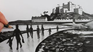 How to Draw People in a Landscape with a Castle