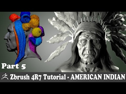 ZBRUSH 4R7 - AMERICAN INDIAN CHARACTER MODELING - FIBERMESH HAIR  -  PART 5