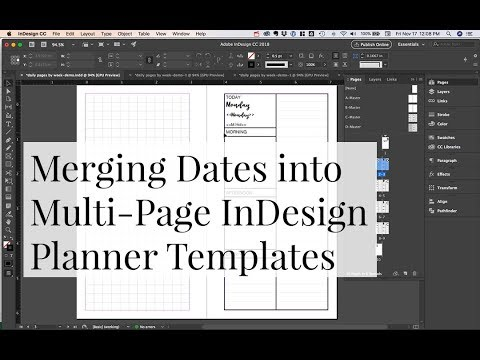 merging dates into a multi page indesign planner template kendra