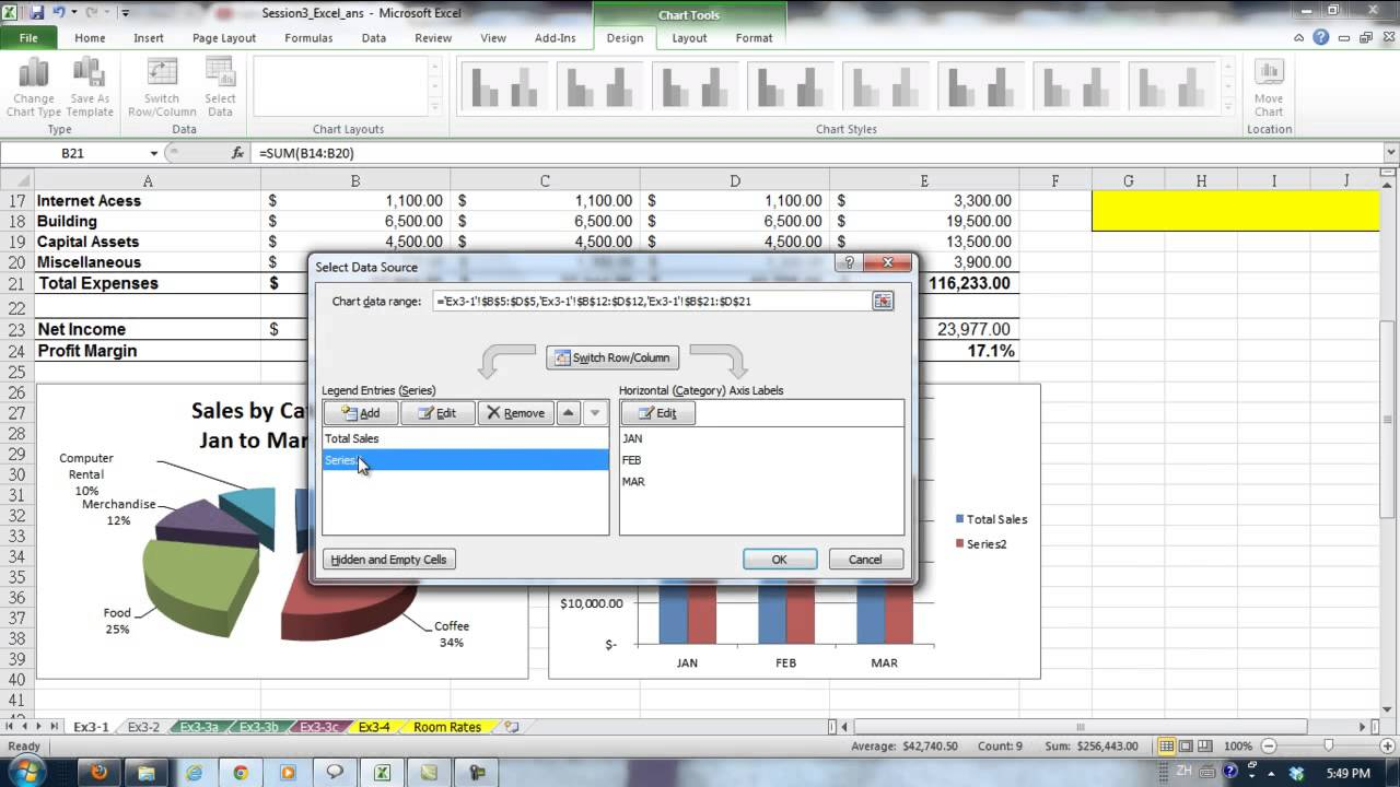 Session excel adding the monthly sales and expenses chart also youtube rh