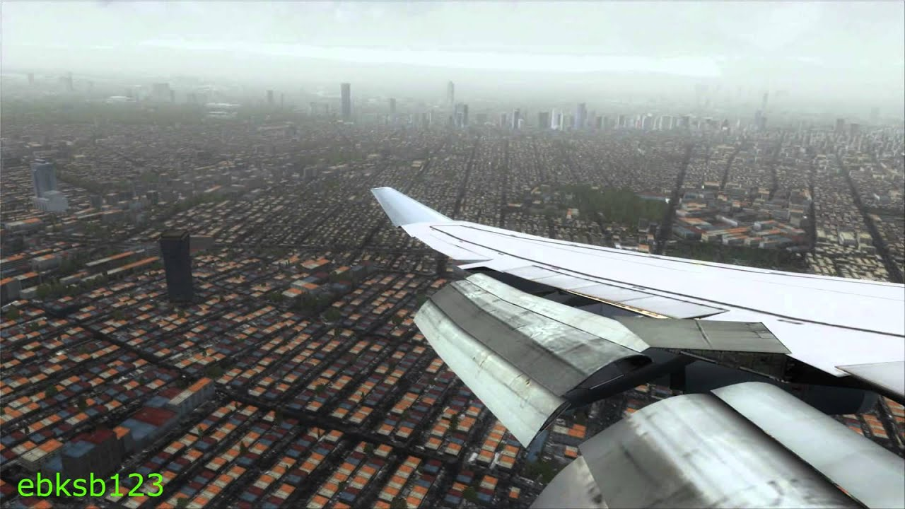 FSX HD 1080p - Lufthansa Boeing 747 AMAZING APPROACH into Mexico City!!!