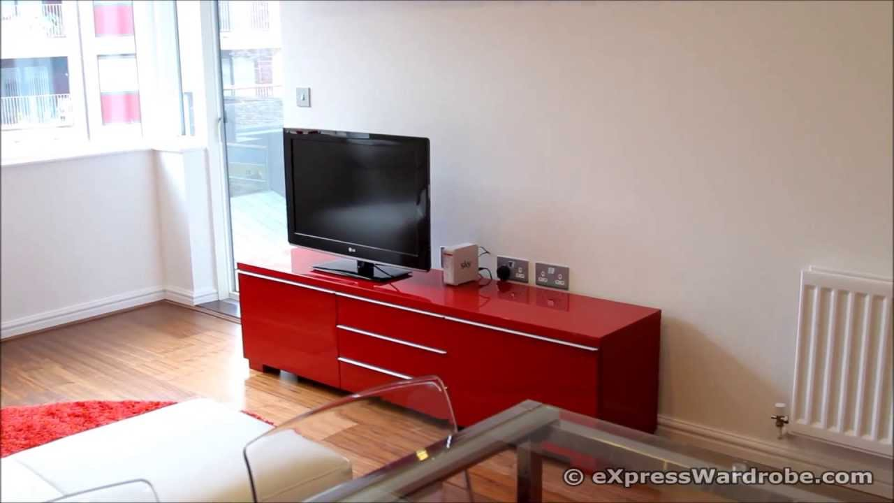 IKEA Besta Burs TV Bench with Storage Glass Extendable