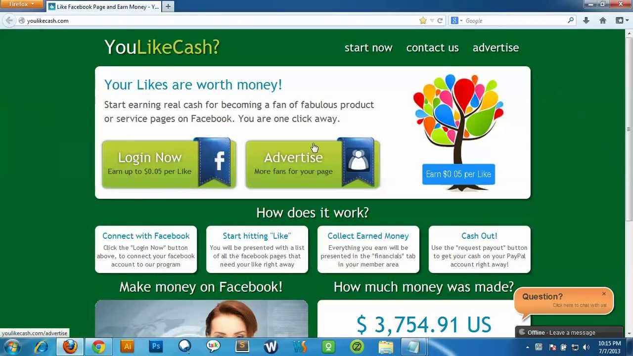 how to get paid from facebook likes