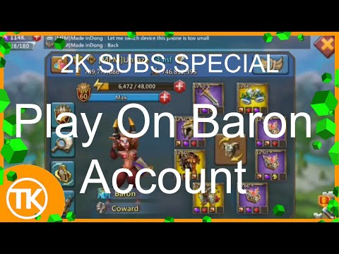 Lords-Mobile | FIRST BARON ACCOUNT OVERVIEW EVER ON YOUTUBE! (2K SUBS SPECIAL!)
