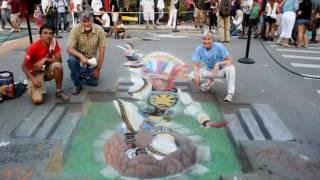 Street Painting 3D Chalk Drawing Anamorfosis DANZA DE TIJERAS por César Paredes Pacora.wmv