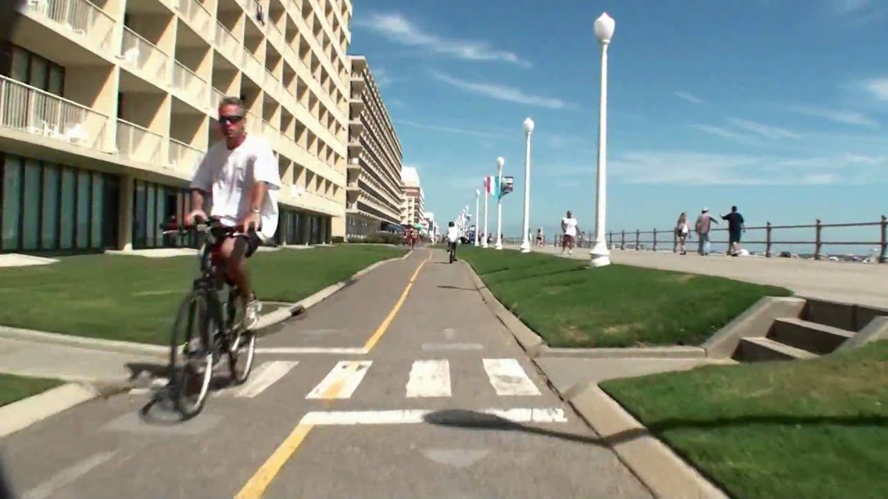 Virginia Beach Virtual Bicycle Tour Boardwalk From St To Th Street Vabeach Com Youtube