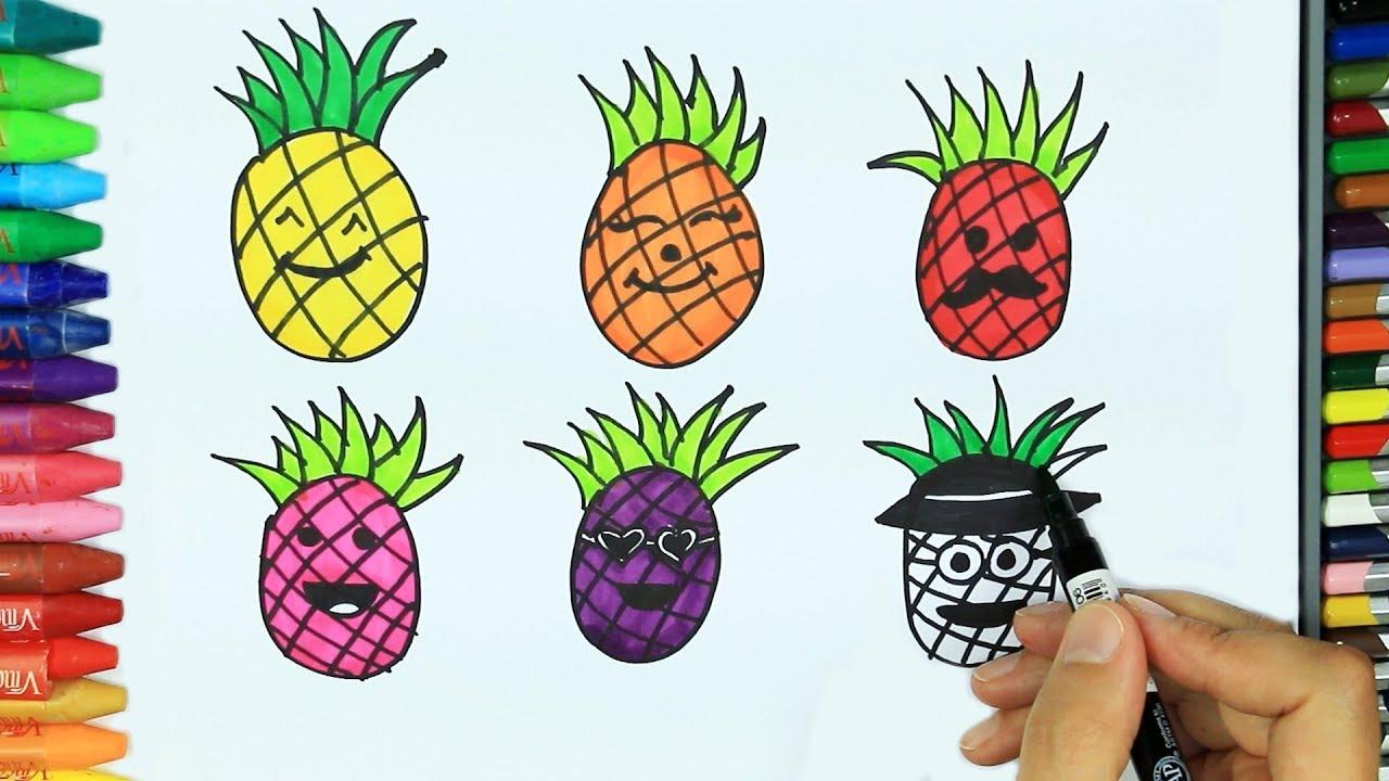 Ananas Rysunek jak narysować ananasa💛 | jak kolorować | rysunek dla dzieci | rysowanie i  kolorowanie dla dzieci