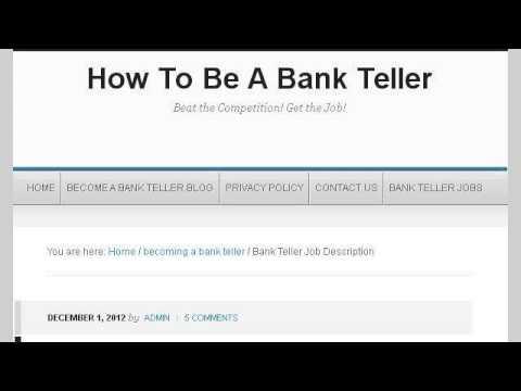 Job Description For A Bank Teller - YouTube