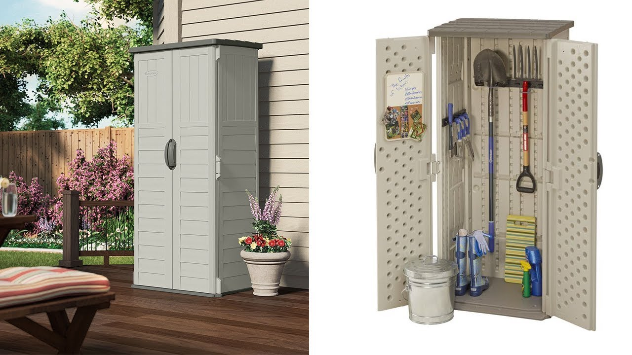 Outdoor Storage Cabinet Shed Patio Garden Vertical Tall Backyard Locking Plastic