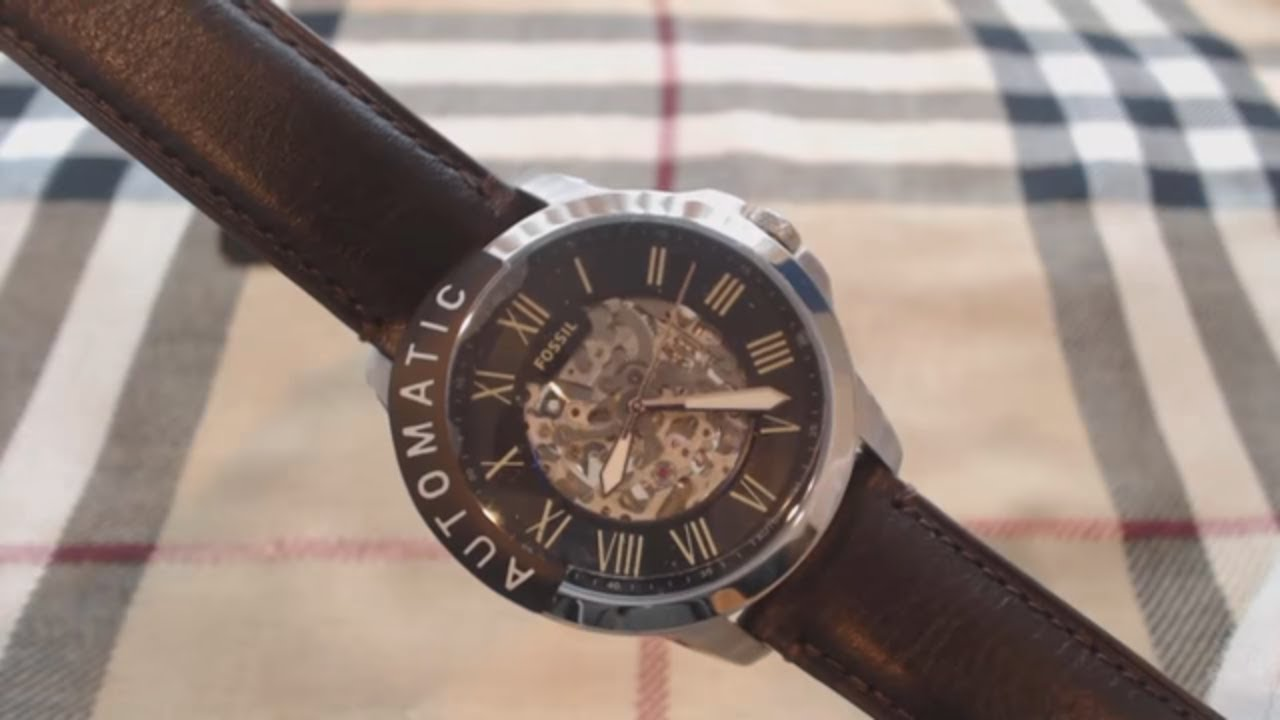 c75ca8fb8e7 Men s Fossil Grant Automatic Skeleton Watch ME3100 - YouTube
