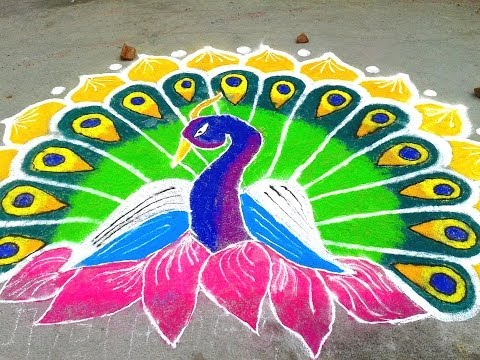 Peacock Rangoli Designs YouTube