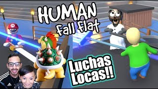 Luchas Locas en Mundo de Plastilina | Mario vs Bowser Human Fall Flat | Juegos Karim Juega