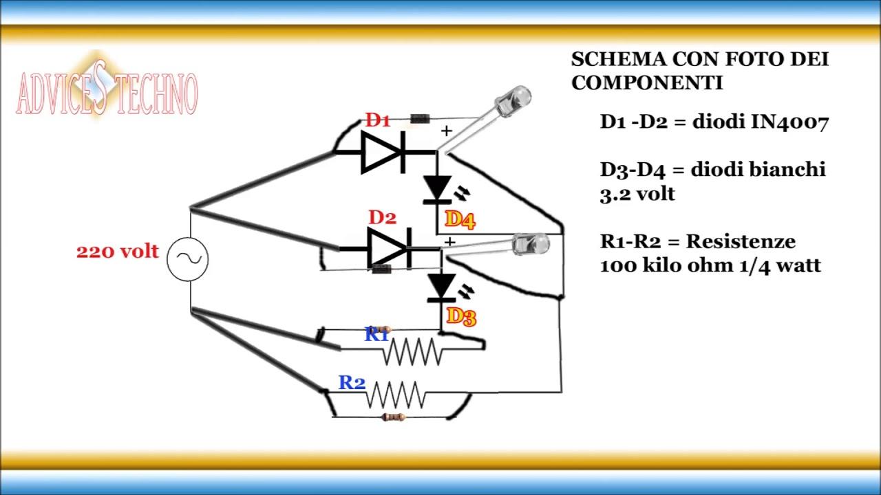 Schema Collegamento Led 220v : Come collegare i led alla v senza trasformatore how to