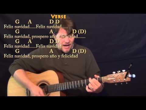 Feliz Navidad  Strum Guitar  Lesson with Chords and Lyrics  G A D Bm