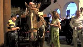 Video Tour of Old CARTAGENA at Night by Horse & Carriage 2013