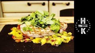 Seared Tuna Steak With A Warm Mango Salsa Salad