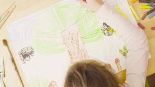 Girl Painting With Pastels Stock Video