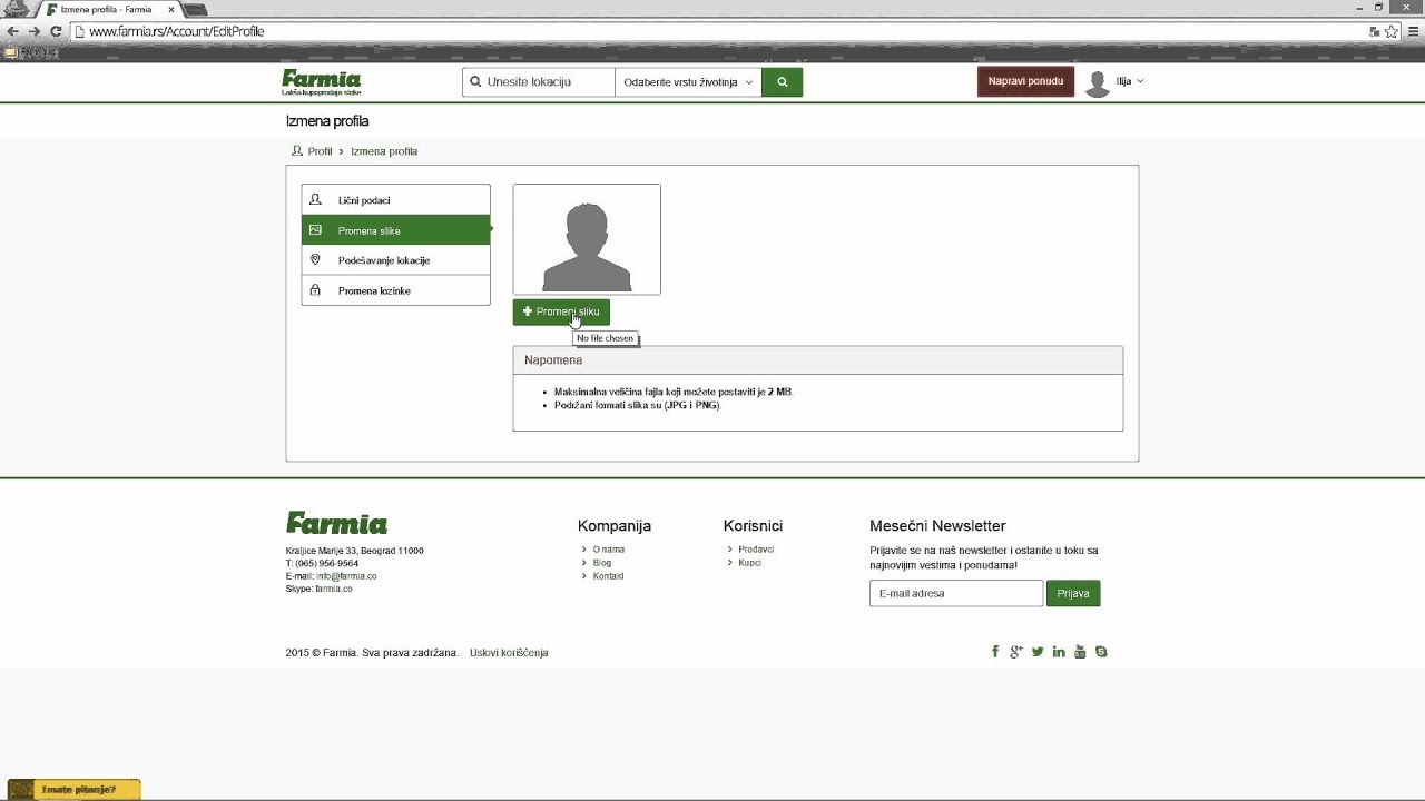 Kako postaviti profil sliku na farmia.rs? - YouTube
