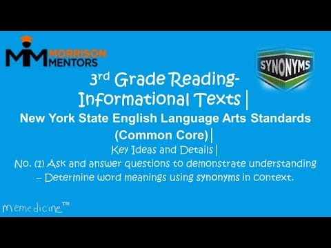 Third Grade English (Reading) │ New York State│ Informational Texts│ No. (1) Identify the Synonym.
