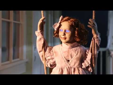 Swinging Decrepit Doll Animated Prop Hanging Halloween Decor Sensor