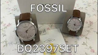 FOSSIL HIS & HER LUTHER THREE-HAND LUGGAGE WATCH GIFT SET| BQ2397SET