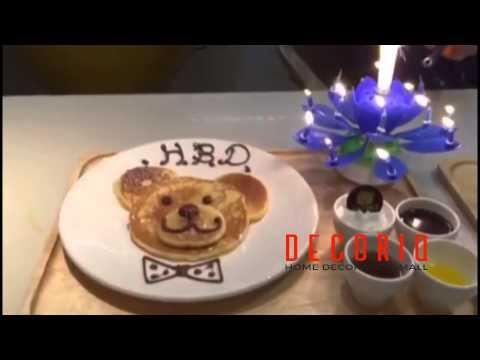 เทียนวันเกิดมีเสียงเพลง หมุนได้ รูปดอกไม้