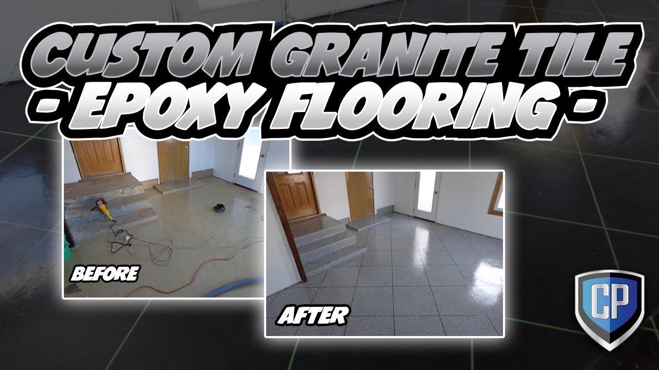 Custom Granite Tile Epoxy Flooring YouTube