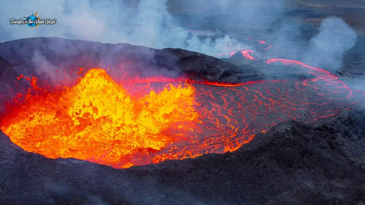 MONSTER VOLCANO FLOODS MERADALIR VALLEY WITH RIVERS OF LAVA, AERIAL EPIC VIEW! - Iceland-Aug 2, 2021