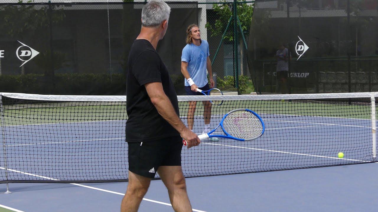 P1070754 Stefanos Tsitsipas Vs Petros Tsitsipas Tennis Practice At Mouratoglou 08 06 2019 Youtube