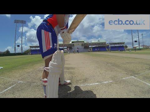 England batsman Jonathan Trott faces Adil Rashid leg-spin - GoPro footage
