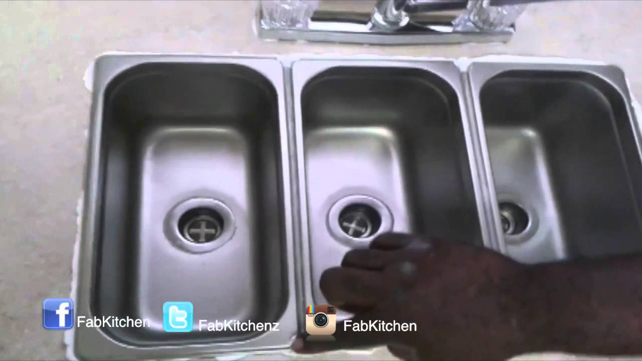 triple sink kitchen outdoor kitchens houston 3 compartment drop in youtube