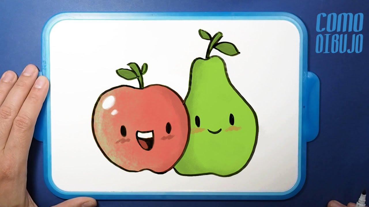 Como Dibujar y Colorear Manzana y Pera Kawaii paso a paso