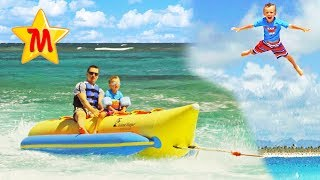 Max Goes on Banana Boat For The FIRST TIME Kayak Body Board and Flying Fun Activities Kids Vlog