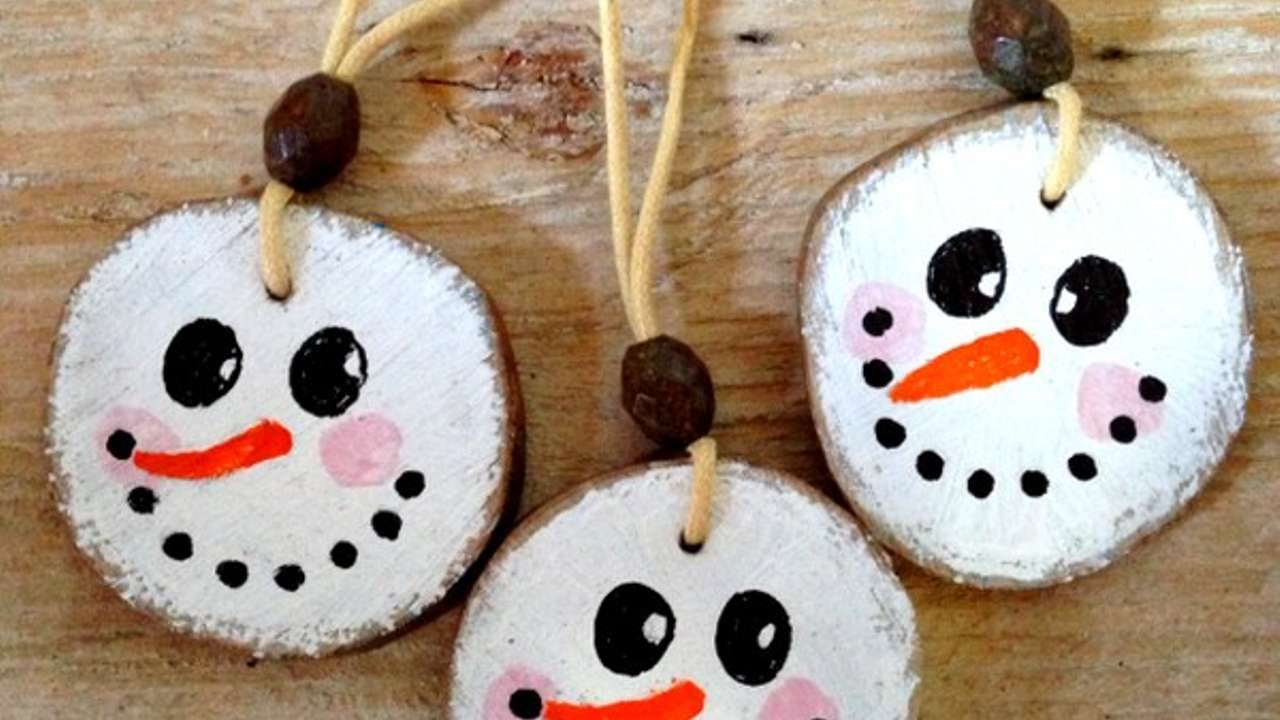 How To Make Cute Wooden Snowman Xmas Ornaments Diy Home Tutorial Guidecentral Youtube