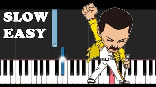 Queen - Bohemian Rhapsody (SLOW EASY PIANO TUTORIAL)