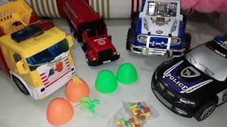 Kids toy # Truck,Xe cảnh sát , xe cứu hỏa và xe monster truck mở trứng bất ngờ.xe cau, xe bon