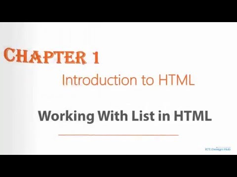 Introduction To HTML - Working With List In HTML