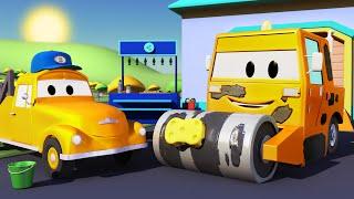 El lavado de Autos de Tom La Grúa: La Aplanadora   Dibujos animados para niñas y niños