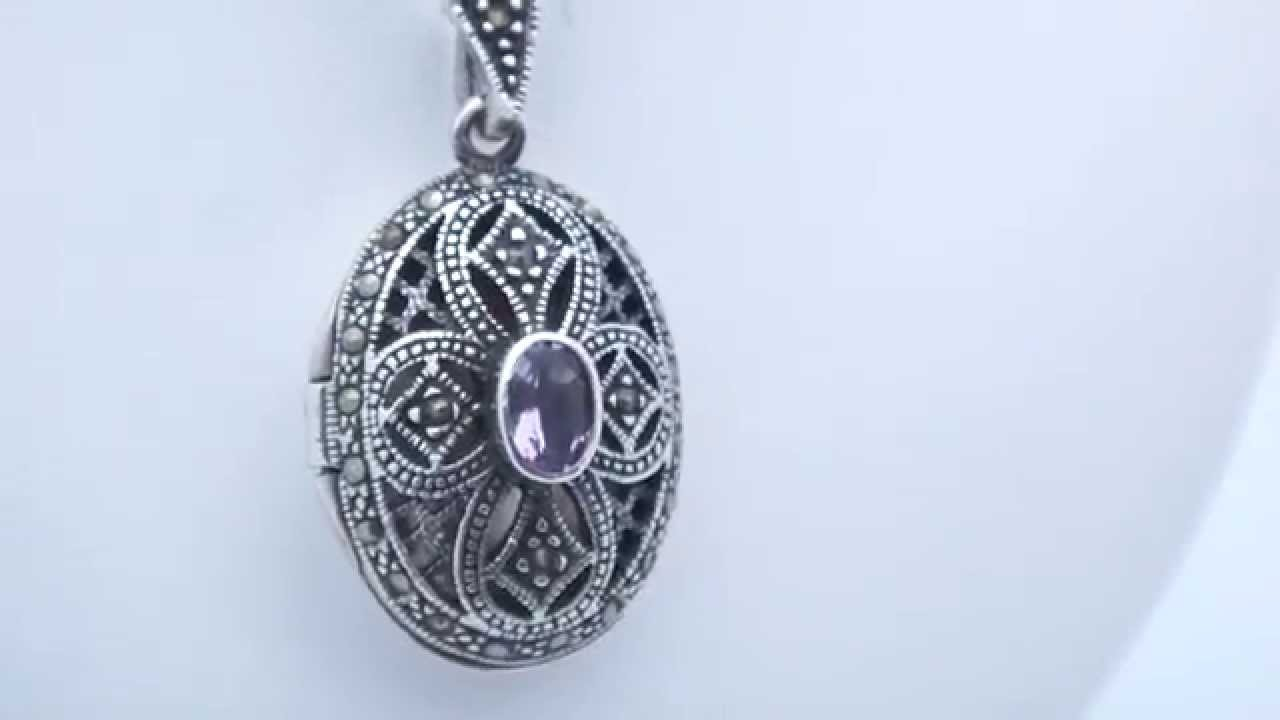 sterling lockets blanche model amethyst locket lily silver