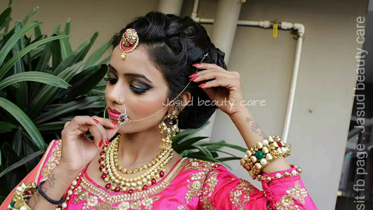 indian bridal makeup and hairstyle tutorial.