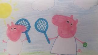 #Peppa And George Play Tennis ***  #Drawing And #Coloring For #babies #toddlers #kids