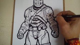 Como dibujar a batman armadura de batman vs superman SPEED / how to draw a batman armor SPEED DRAW
