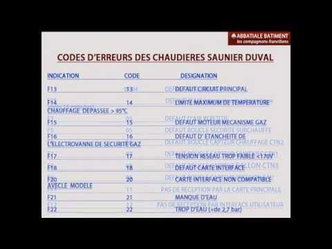 Codes D Erreurs Des Chaudieres Saunier Duval Youtube