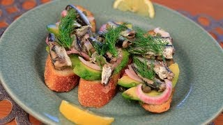 Sardine Toasts With Pickled Onion, Capers And Dill