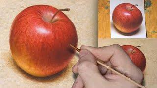 Как рисовать яблоко реалистично. Фрукты. How to Draw an apple realistic. Fruit