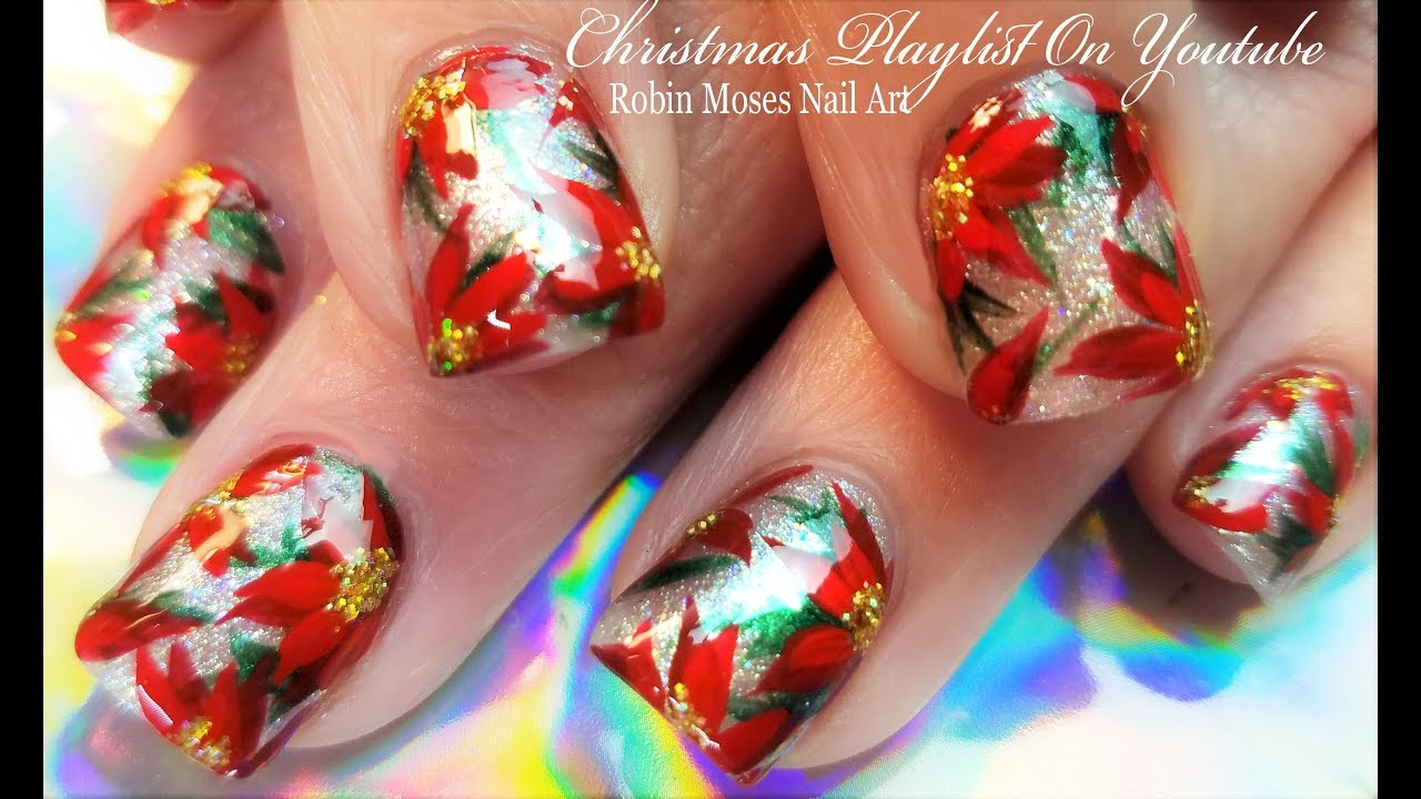 Beautiful christmas nails red poinsettias and glitter nail art beautiful christmas nails red poinsettias and glitter nail art design prinsesfo Choice Image
